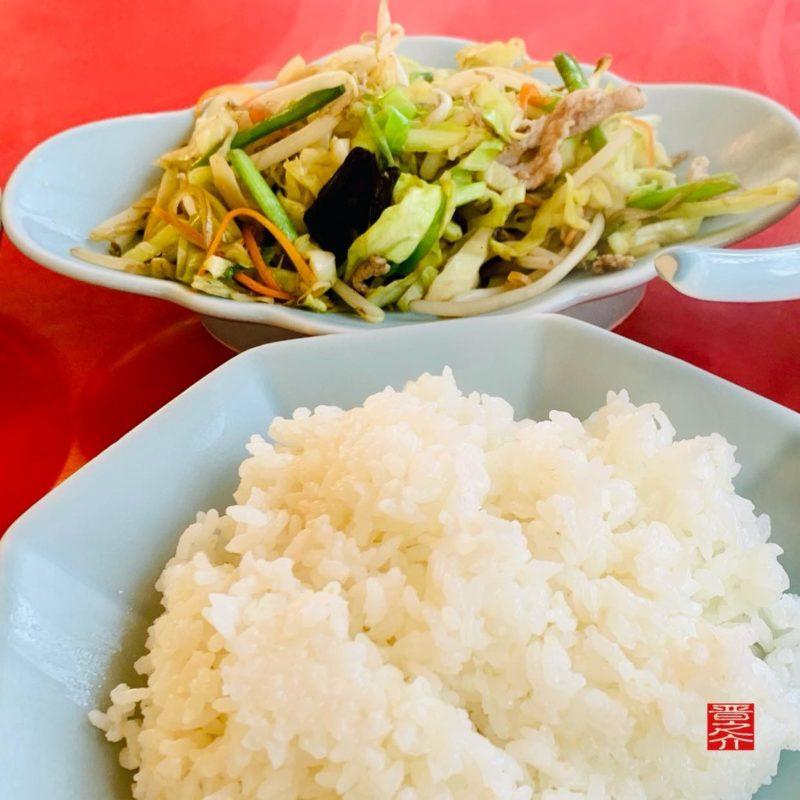 中華料理テンハオ野菜炒めと御飯
